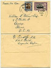 CEYLON NEGOMBO FORCES AIRMAIL 1949 to CHICAGO USA 50c + 25c