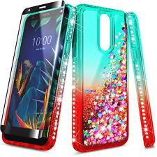 For LG Stylo 5/5V/5x/ Stylo 5+ Case Liquid Glitter Bling Cover + Tempered Glass