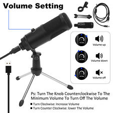 More details for condenser usb microphone w/ tripod stand for studio recording game chat computer