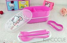 Hello Kitty Double-deck Lunch Box Bento Box fork chopsticks spoon K236