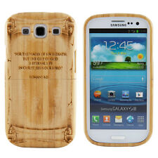 Samsung Galaxy S3 III Genuine Bamboo Romans 6 23 Bible Quote Case Hard Cover New