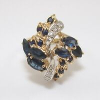 14K Yellow Gold Natural Blue Sapphire Diamond Cluster Cocktail Ring Size 6.5 GGF