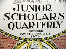 Junior Scholars Quarterly Oct 1934 Booklet Cook Publishing USA Bible Lessons +++
