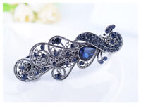Hair Clip Fashion Flower Barrette Clamp Hairpin Women Blue Crystal Rhinestone