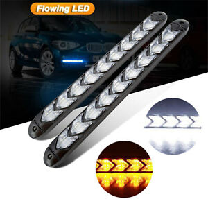 2x Car LED Amber/White Switchback Flowing Strip Arrow Flasher Turn Signal Light