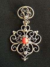 Antico pendente tradizionale tedesco Bayern argento corallo vintage Tracht P36
