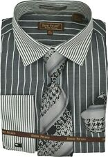 Mens Henri Picard Black and White Stripe Print Dress Shirt and Tie Set