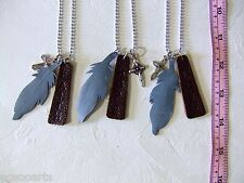 Handmade Leather Feather Pendants & Cross Necklace Metal Chain 3 in a lot