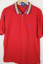 Polo Ralph Lauren Mens Sz XL Red Quarter Zip Shirt Blue Pony