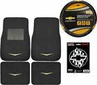 6pc Classic Chevy Logo Car Truck Suv Front Rear Floor Mats Steering Wheel Cover