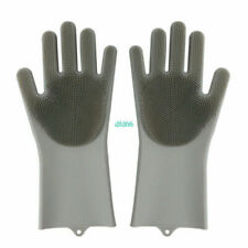 5PC Magic Silicone Rubber Dish Washing Gloves 2 in 1 Scrubber Cleaning gray