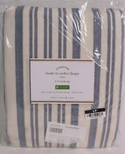 Pottery Barn Antique Stripe print linen/cotton curtain drape panel 50x84, blue