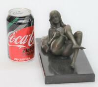 Beautiful Signed Art Nouveau Gilt Bronze Sculpture Figure Statue Naked Nude DEAL