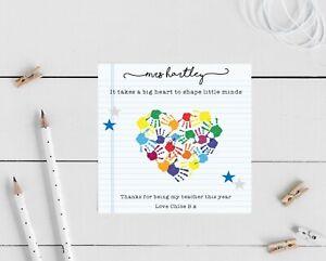 Personalised Thank You Teacher Card- Heart Teacher, Nursery, TA end of school