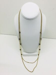 EUC PARK LANE 2 Strand Gold Tone Chain Necklace Brown Beads & Bars Long Dangly