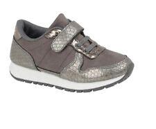 Boys Girls Grey Trainers Hook/Loop Closure School Fashion Kid Running Shoe 12.5