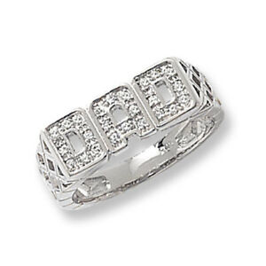 Sterling Silver Dad Ring, Cubic Zirconia , Fathers Day Gift, Size Options