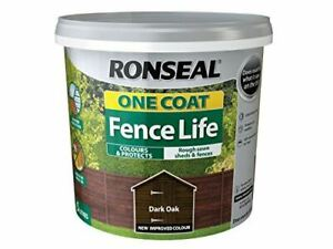 Ronseal One Coat Fence Life Garden Shed & Fence Paint Wood Stain 5L Dark Oak