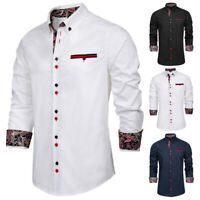 Men's Fashion Slim Fit Long Sleeve Floral Button-Down Collar Shirt Tops