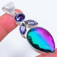 "Bi-Color Tourmaline, Tanzanite Ethnic Jewelryr Jewelry Pendant 2.5"" AK-3370"