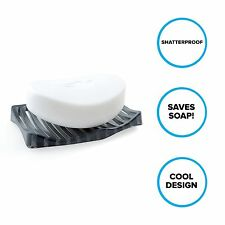 Plastic Soap Dish: Wavy Soap Saver for Bathroom Countertops in Dark Gray