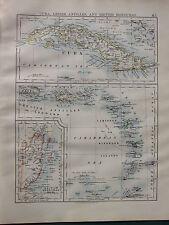 1900 VICTORIAN MAP ~ CUBA LESSER ANTILLES BRITISH HONDURAS WINDWARD