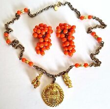 ~RARE! William de LILLO Matching Orange Coral Beads EARRINGS NECKLACE SET Signed