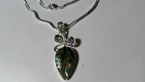"Pretty Genuine Abalone & Amethyst.925 Silver Pendant with 22"" Box Chain Necklace"