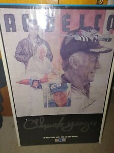 AUTOGRAPHED  POSTER COLONEL CHUCK YEAGER FOR AC DELCO AUTO PARTS VERY RARE