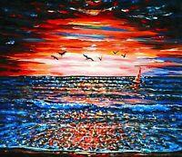 Quality Original Acrylic painting Modern Realism Sunrise Seascape Art