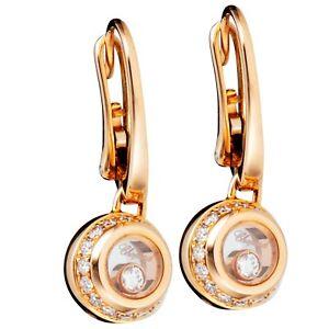 Chopard Miss Happy Rose Gold & Diamond Earrings  83/9013-5001 Brand New!!