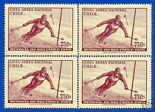 CHILE, SKI, AIR MAIL, BLOCK OF FOUR, YEAR 1966