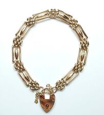 Antique Victorian 9 Carat Rose Gold WHWLD Fancy Gate Bracelet & Padlock