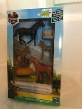 Child's Country Life Horse set, 4 horses fencing hay pile hanging feed bucket Ne