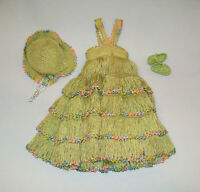 Old Vtg Ca 1950s Flapper Style Hand Made Crochet Green Doll Dress Hat and Shoes