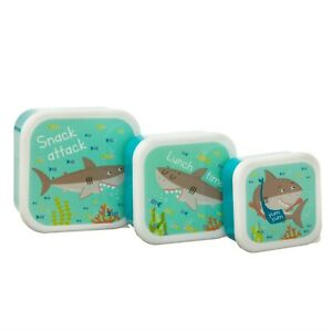 Sass & Belle 3 Shelby The Shark  Kids Lunch Boxes School Picnic Food Containers
