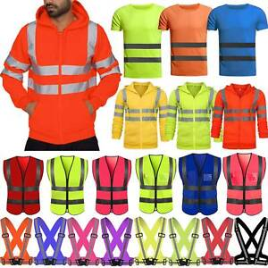 Hi Viz Vis High Visibility Jacket T-Shirt Fluorescence Safe Work Vest Clothes
