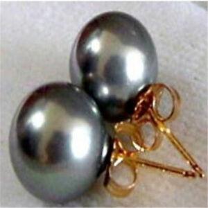 16mm black shell pearl earrings 18K Stud BLACK Loose HUGE hand-made