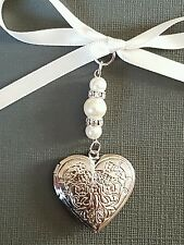 super Wedding Bouquet Charm Heart Embossed Silver Locket Pendant Ivory Pearls
