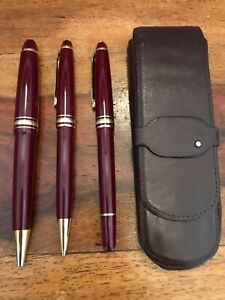 Montblanc Meisterstuck Burgundy w/Gold Trim Pen, Pencil Set of 3 w/leather case
