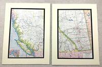 1920 Antik Aufdrücke Karte von Britisch Columbia Alberta Kanada Victoria Stadt