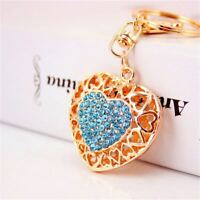 Hollow Out Sweetheart Rhinestone Heart Key Buckle Pendant Key Chains Key Rings