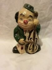 Vintage Clown Playing Cello Coin Bank Very Colorful And Cute Ceramic Very Rare