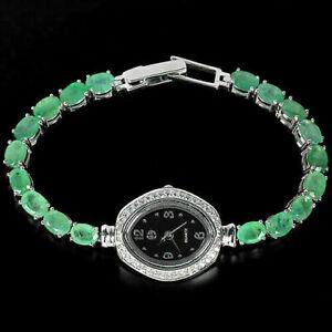 Watch Green Emerald Genuine Natural Gemstones Solid Sterling Silver 7 1/4 Inch