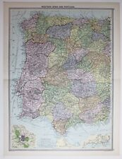 1920 grandes occidental España & Portugal mapa Madrid plan de Lisboa Málaga Salamanca