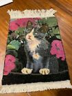 Small vintage 1950s handmade handknotted wool rug carpet novelty cat design