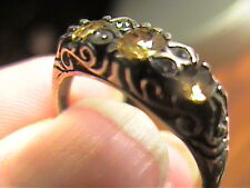 sterling silver 925 ring citrine trio filigree NATURAL SMALL VINTAGE OLD 8.5