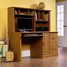 New Sauder Orchard Hills Computer Desk with Hutch Drawers Carolina Oak Finish