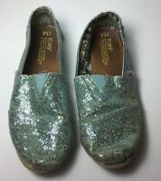 Toms Classic Shoes Girls Size Y1.5 Glittery Teal Blue Youth Slip On Canvas Flats
