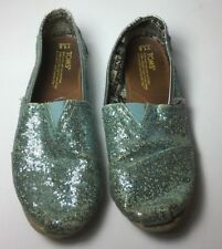 89ef09e5d4f Toms Classic Shoes Girls Size Y1.5 Glittery Teal Blue Youth Slip On Canvas  Flats